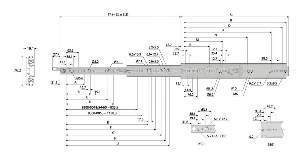 Coulisse à bille et bois : Sortie totale DZ 9308 - 227 kg