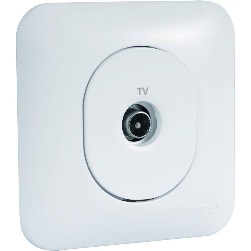 Prise TV simple mâle Schneider Ovalis blanc S260405