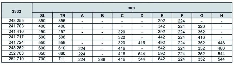 Coulisse à bille et bois : Sortie totale DB 3832 EC / 25 - 36 kg