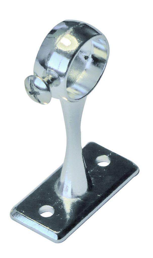 Accessoire pour penderie : Piton sur platine avec vis d'arrêt - saillie 60 mm