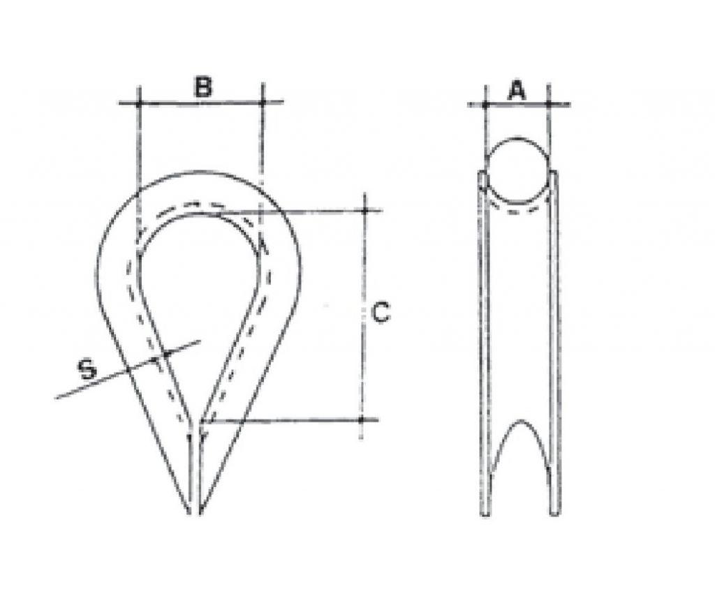 Accessoire pour câble : Cosse cœur DIN 6899 A