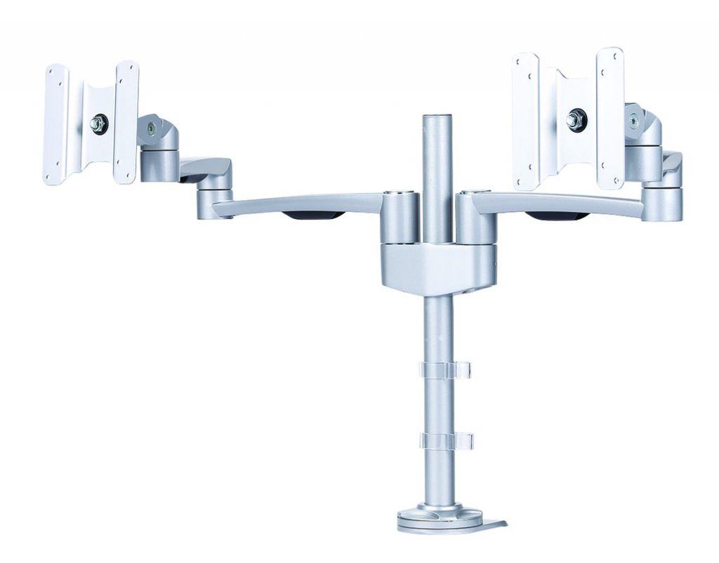 Support pour téléviseur LCD \ plasma : Support double moniteur informatique simple silver - à pince