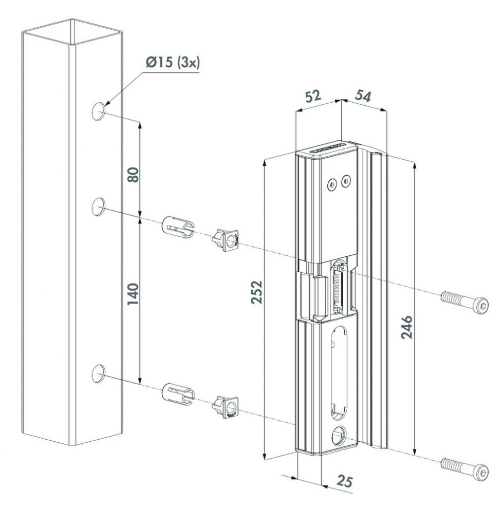 Verrouillage de portail : Gâche électrique en applique pour serrure Locinox - MODULEC-SA