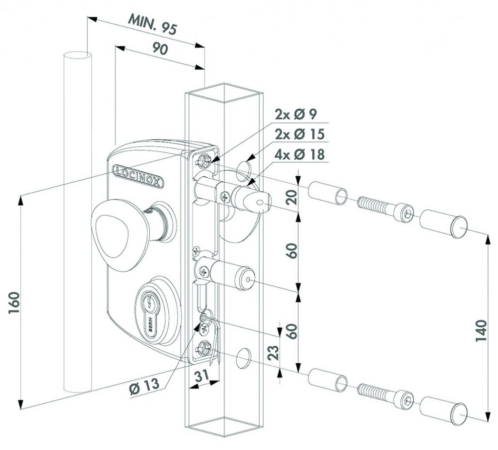 Verrouillage de portail : Serrure électrique à rupture - LEKQ U2