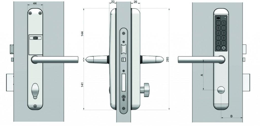 Verrou et serrure électronique autonome : Ensemble de porte électronique - Easykey Slim