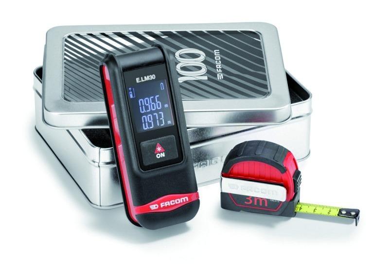 Télémètre laser : Composition mesure laser + mètre ruban 3 m compact E.LM30CM100Y - édition limitée FACOM