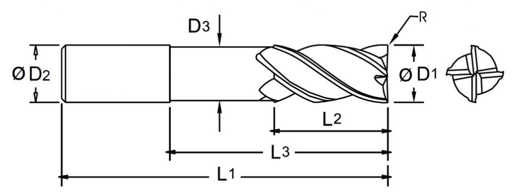 Fraise carbure : Fraise 4 dents torique (rayonnée) carbure micro-grain - queue cylindrique denture 35/38° Altima (ALTIN)