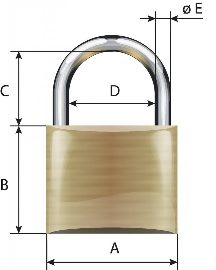 Cadenas à clés : Laiton massif - série EC 75