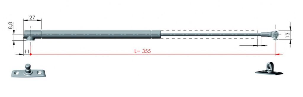 VERIN P/ABATTANT K12 LG 355 MM