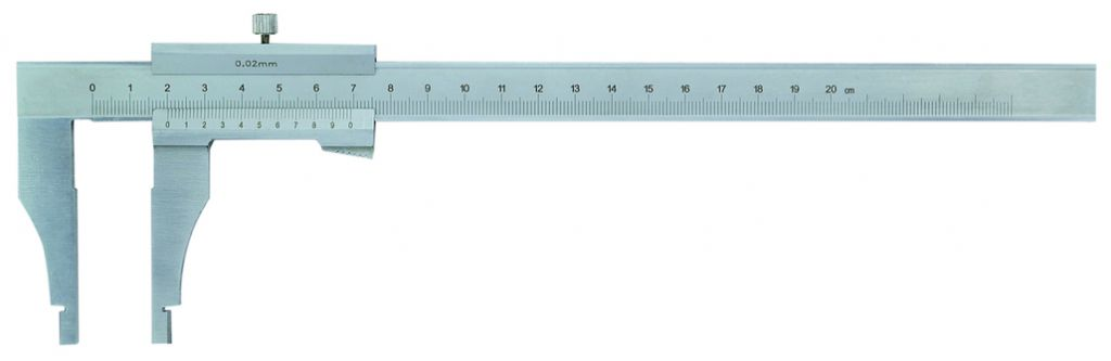 Pied à coulisse pour mesure intérieure et extérieure : Lecture 0,02 mm