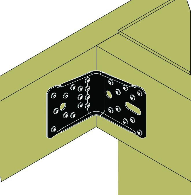 Connecteur métallique assemblage bois : Équerre renforcée finition noire