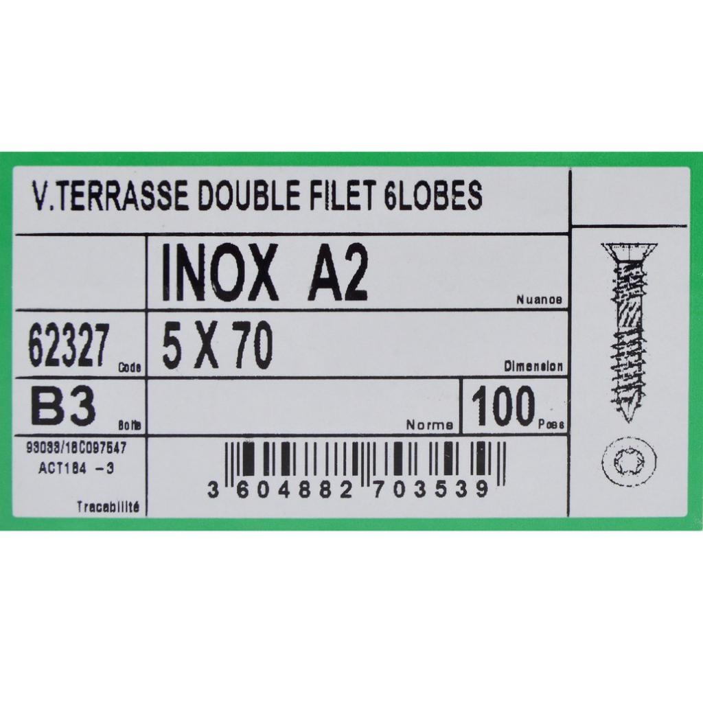 VIS TERRASSE INOX A2 5X70 TORX 25