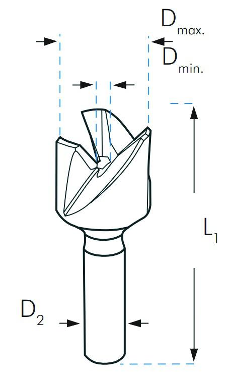 Fraise à lamer \ à chanfreiner : Fraise à chanfreiner extérieur 90° HSS