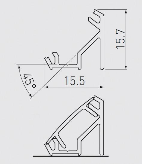PROFIL ALU 2 ML APPLIQUE ANGLE 45°