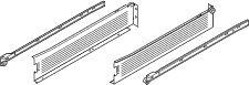 Côté de tiroir simple paroi : Sortie partielle Blum METABOX - charge dynamique de 25 kg