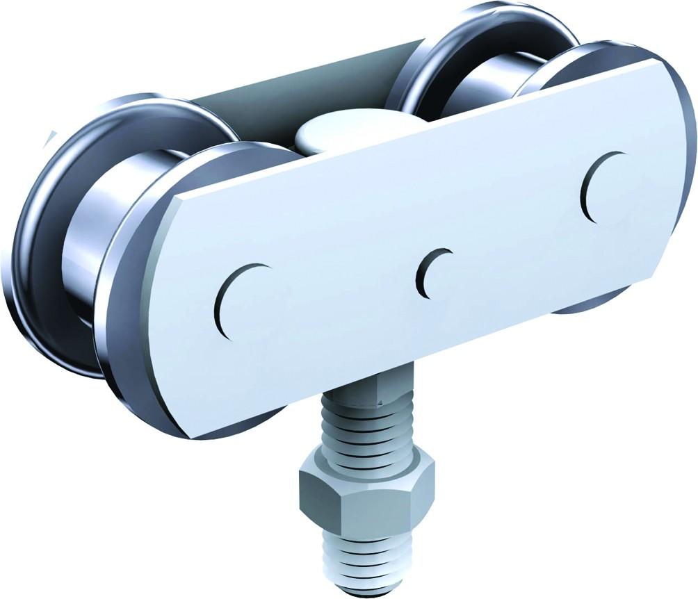 Ferrure de porte coulissante et pliante Mantion : Série Sportub - pour porte de 300 kg - porte à déplacement droit sur profil