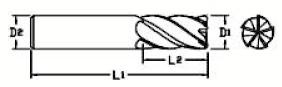 Fraise carbure : Fraise 5 dents carbure micro-grain - queue cylindrique denture 35/38° Altima (ALTIN)