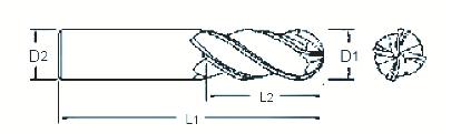 Fraise carbure : Fraise 4 dents carbure micro-grain hémisphérique queue cylindrique - revêtu