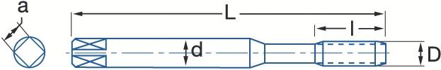 Taraud mécanique générale : Taraud gun métrique - tarauds frittés inox bagué bleu
