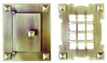 Garniture laiton patiné : Plaque 130 x 105 mm - pour porte de 85 x 62 mm