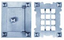 Garniture acier : Plaque 130 x 105 mm - porte 85 x 62 mm