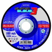 Meule d'ébarbage : Super Bleue 3 - acier/inox