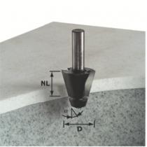 Fraise spéciale pour matière minérale et synthétique : Fraise à chanfreiner avec roulement nylon