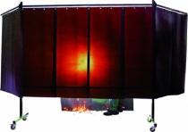 Rideau - toile - tente de soudage : Ecran à lanières suspendues orange