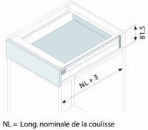 Kit tiroir double paroi Blum - TANDEMBOX : Kit Tandembox hauteur N : 81,5 mm