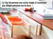 Coulisse invisible pour tiroir bois : Kit synchronisation TIP-ON pour MOVENTO