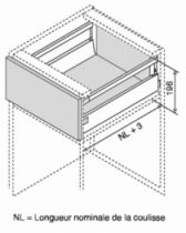 Kit tiroir double paroi Blum - antaro - TIP-ON : Kit antaro TIP-ON hauteur C : 196 mm - blanc
