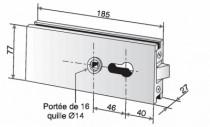 Serrure de porte verre Métalux : Serrure à encoche 64A et épaisseur de glace de 8 mm