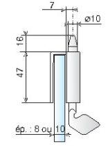 Serrure de porte verre Métalux : Sans encoche à tirette pour glace de 8 à 10 mm d'épaisseur