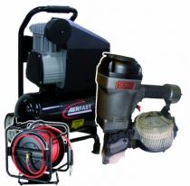 Agrafage et clouage pneumatique : Lot cloueur SCN75 + sac de transport + compresseur + enrouleur 30 m