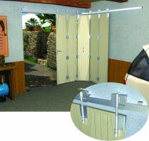 Ferrure de porte coulissante et pliante Mantion : Monture et charnière - porte à déplacement latéral sur rail en fer plat