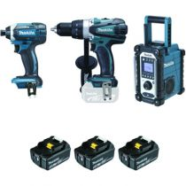 Pack machine sans fil : Kit perceuse visseuse +  visseuse à chocs + radio de chantier 18 V