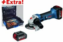 Meuleuse sans fil : GWS 18-125 V-LI - 5,0 Ah  + 2 batteries et coffret outils Gedore