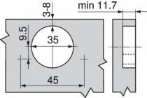 Rotation : Porte applique - ouverture 155°