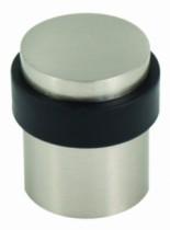 Butoir de porte : Pour fixation au sol - alu anodisé finition inox et caoutchouc cylindrique