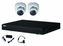 Vidéo surveillance : Kit vidéo HDCVI 2 dômes 2MP 1080P