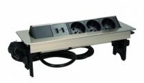 Enrouleur - prolongateur : Bloc 3 prises +2 USB rectangulaire encastrable - inox