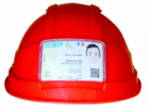 Casques de chantier : Porte-badge rigide à scratch