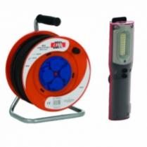 Enrouleur - prolongateur : Enrouleur + lampe torche led