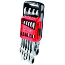 Clé mixte : Jeu de 10 clés mixtes à cliquet articulées - 467BF.JP10