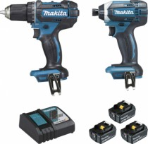 Packs et Coffrets : Lot de 4 machines Makita + Chargeur + 3 batteries 5AH