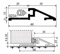 Seuil aluminium pour alu ou pvc : Seuil Rivinox pour porte extérieure Alu