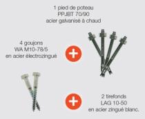 Connecteur métallique assemblage bois : Kit pied poteaux avec 4 goujons et 2 tirefonds - PPJBT