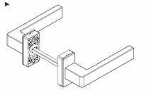Béquille double pour menuiserie alu\pvc : Béquille double sur rosace rectangle KORA