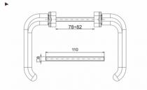Béquille double pour menuiserie alu\pvc : Béquille double sur rosace rectangle MASTER PLUS