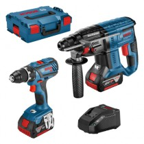 Marteau perforateur sans fil : Kit perforateur 18V + perceuse-visseuse 18V + 2 batteries 4 Ah + 1 batterie 3 Ah + 1 chargeur